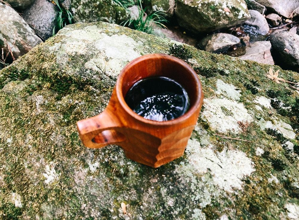 明神の滝でコーヒー
